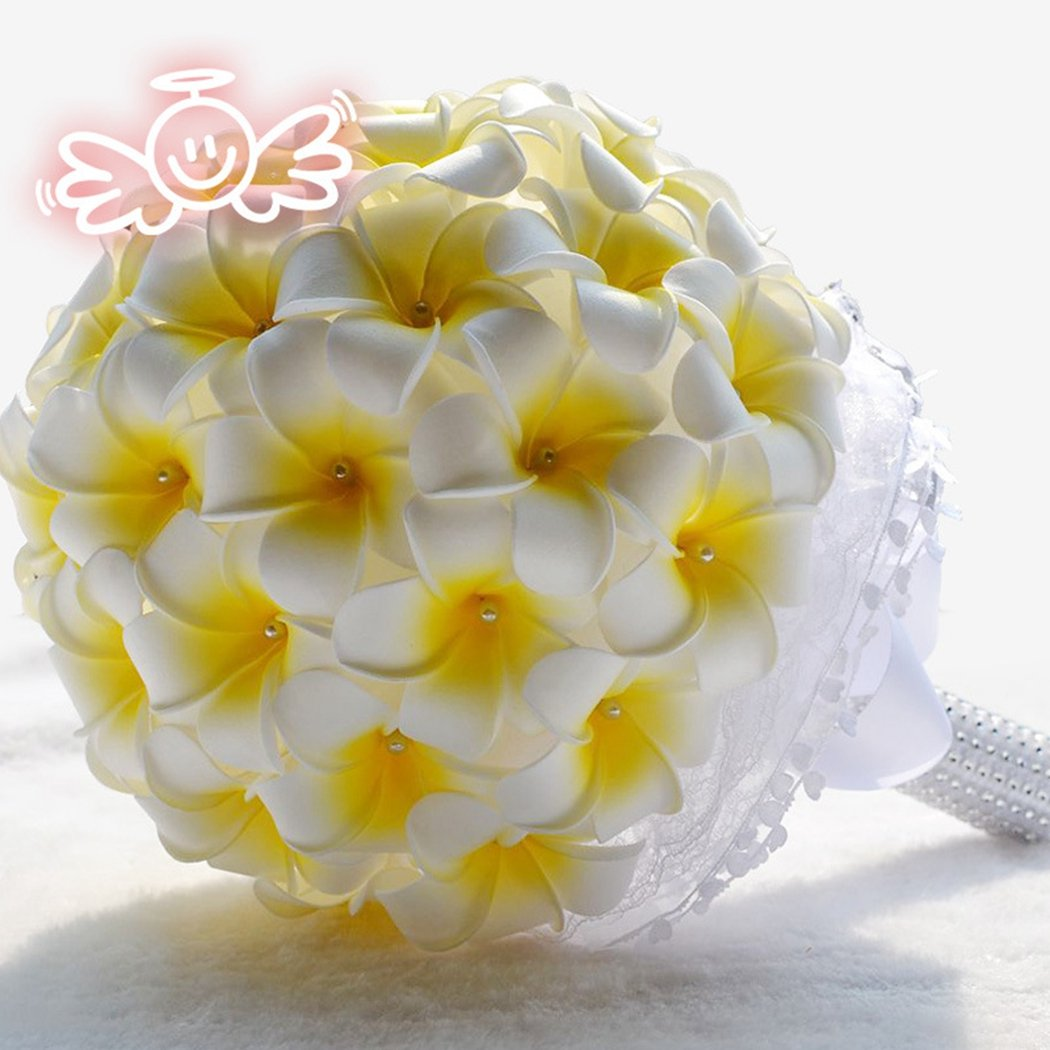 Amazon.com: Clearbridal America Plumeria Flower Real Touch Bouquet ...