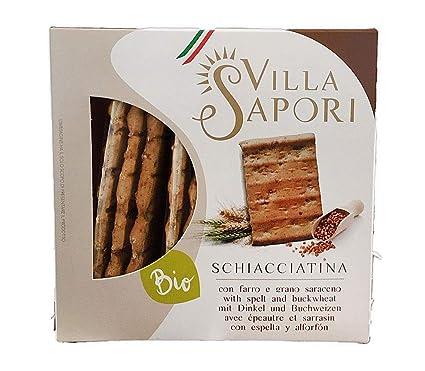 Villa Sapori Pan Crujiente Italiano con ingredientes Ecológicos | Schiacciatina Ecológica con Espelta y Trigo Sarraceno