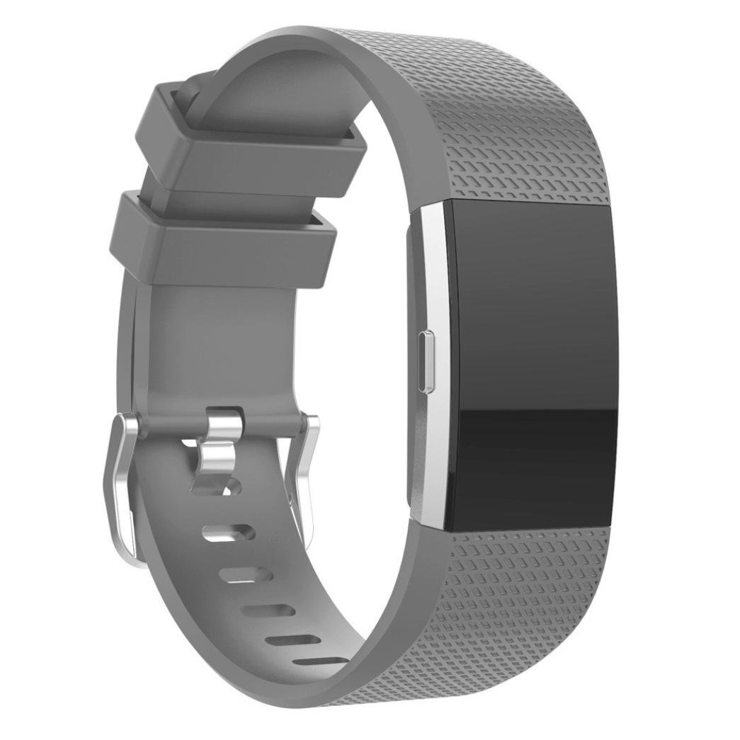Fitbit Charge 2 Bands, Topcent Replacement Sport Silicone Strap Bands for Fitbit Charge 2 Smartwatch Fitness Wristband - Fit wrist size: 5.31 - 6.69 inch (GY)