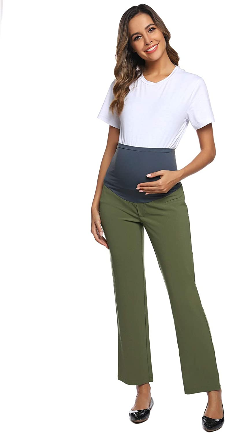 Maacie Womens Maternity Bootcut Pants Secret Fit Belly Work Pants 71ZQocqOBBL
