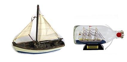 """""""Barco Modelo de Velero de madera, plástico 16 cm + Barco embotellado Gorch"""