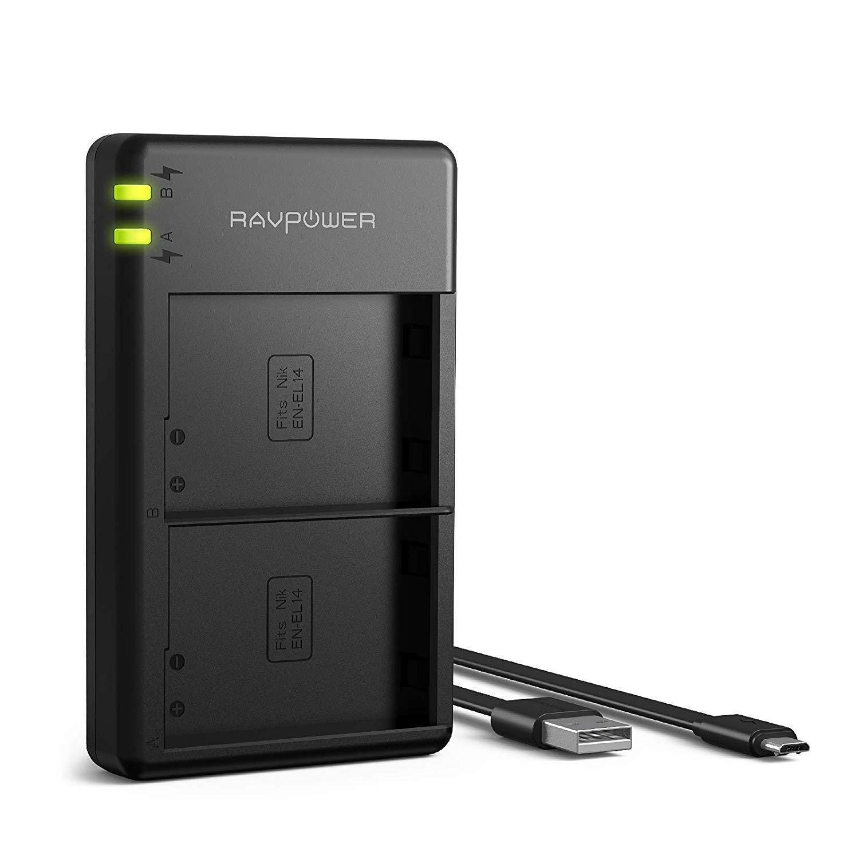 EN-EL14 EN-EL14a RAVPower Dual USB Battery Charger Compatible with Nikon D5600, D5500, D5200, D5300, D5100, D3400, D3300, D3200, D3100, Coolpix, P7000, P7100, P7200, P7700, P7800 Cameras US-RP-BC002