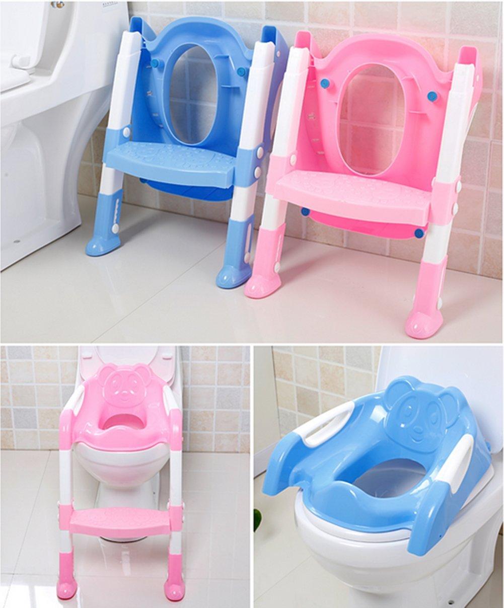 Mackur Kinder T/öpfchentrainer Faltbar Toilettensitz Trainer Sitz Kinder T/öpfchen Toiletten Training mit Treppe Toiletten-Trainingshilfe 1 St/ück Rose