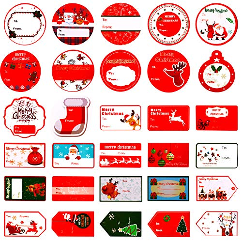 (Aozer Christmas Self Adhesive Gift Tags Santa Snowmen Xmas Tree Deer Christmas Labels Decorative Stickers for Christmas Decoration Supplies, 180 Pieces)