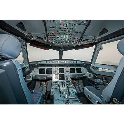 Csfoto Aircraft Cockpit Backdrop 7x5ft Photography Background Airplane Upper Air Flight Pilot Kids Flight Theme Party Decoration Children Room