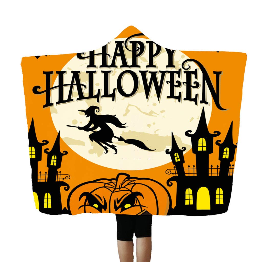 Flannel Blanket Soft Halloween Hooded Blanket 3D Funny Black Cat and Pumpkin Printed Wearable Blanket Soft Wrap Throw Blanket Lightweight Bathrobe One Size Fits All Happy Halloween-g, 59''x78.7'' by charmsamx