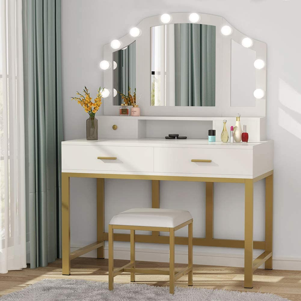 "47"" Large Elegant Vanity Set with Tri-Folding Lighted ..."