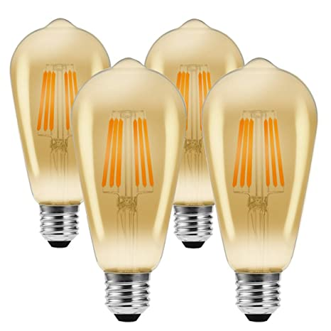 Bombillas Led Vintage Edison, JaiHo 6W E27 ST64 Bombilla Decorativa Antique LED Filament Lamp Reemplaza