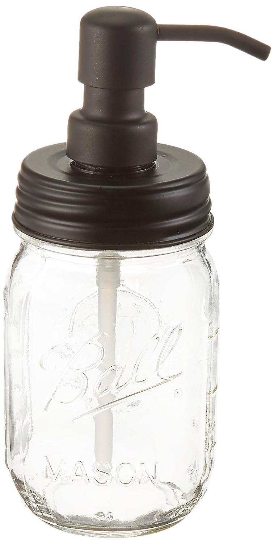Industrial Rewind Ball Jar Soap Dispenser with Metal Black Pump and Black Lid Clear Pint Mason Jar Soap Dispenser