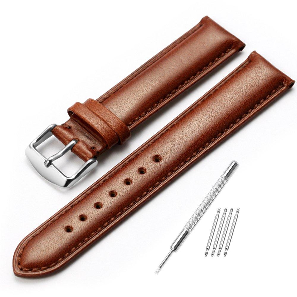 iStrap 18 19 20 21 22 mm Genuine Calfskin Leather Watch Bandパッド入りストラップスチールスプリングバーバックルスーパーソフト( 6色選択) 22mm ダークブラウン 22mm|ダークブラウン ダークブラウン 22mm B01N07PUGL