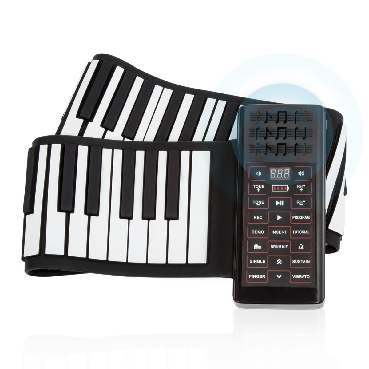 JouerNow RUP002 88 Thickened-Keys Roll Up Piano Synthesizer/ Electronic Flexible Silicone Keyboard Hand-rolling Piano with Battery-sustained Pedal, US plug
