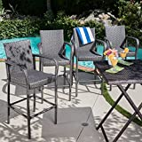 Christopher Knight Home 301205 Delfina Outdoor Wicker Barstools (Set of 4), Gray