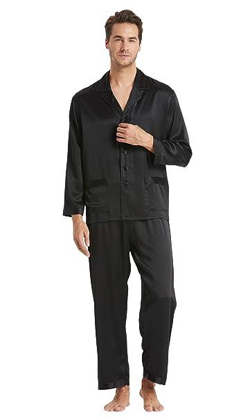 4f9569b503 LILYSILK 100 Pure Silk Pyjamas for Men Set Long Sleepwear Pyjama Set Pure  Mulberry Silk Lightweight Male Pjs-for Gifts Or Treat Yourself  Amazon.co.uk   ...