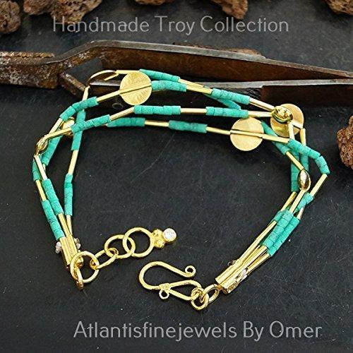 Multi Strand Troy Malachite Bead Bracelet 24 k Gold over 925 Fine Silver Handmade Turkish Jewelry (Turkish Silver Bead)