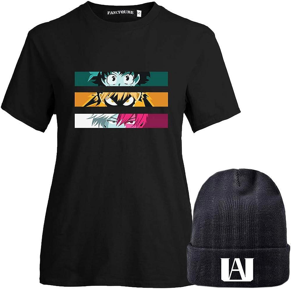 BUBABOX Womens Girls My Hero Academia Izuku Midoriya Bakugo Todoroki Cosplay T-Shirt with Matching Anime Beanie Hats