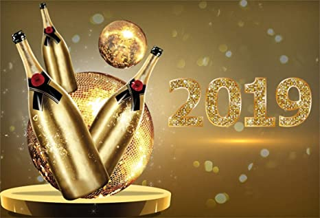leyiyi 9x6ft 2019 happy new year backdrop champagne bottles vintage eve party bokeh halo banner glitter
