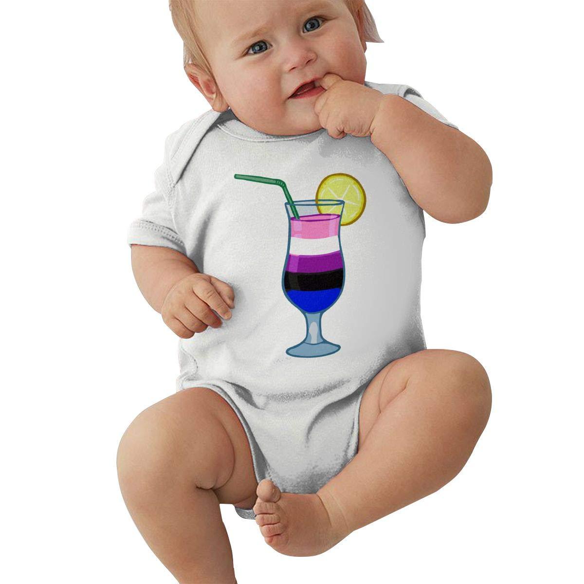 Mri-le2 Baby Girls Short Sleeve Organic Bodysuit Genderfluid Cocktail Toddler Clothes