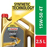Castrol POWER1 Cruise 4T 15W-50 Synthetic Engine Oil for Bikes (2.5L)
