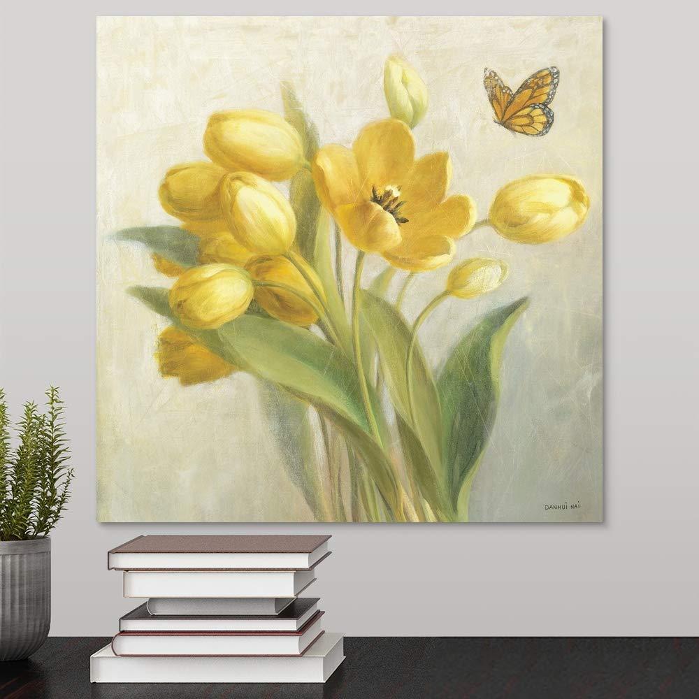 Yellow French Tulips Canvas Wall Art Print, 16 x16 x1.25