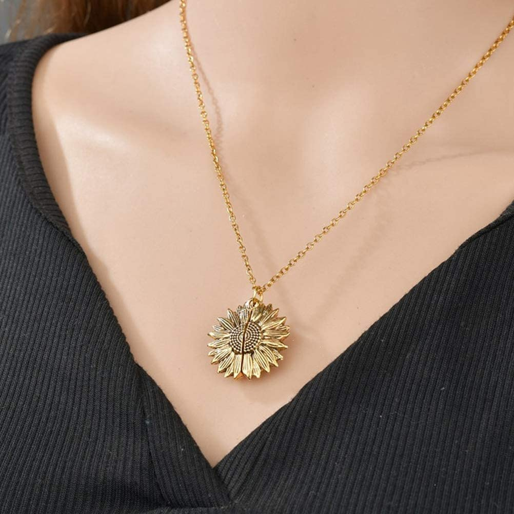 LAKDSANJ Mothers Day Gifts For Mom From Daughter Gold Sunflower Necklace You Are My Sunshine You With Sunflower Gift Sunflower With Birthday You