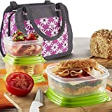 Fit & Fresh Ashland Lunch Bag Kit with Reusable Container Set and Ice Pack, Orchid Dogwood