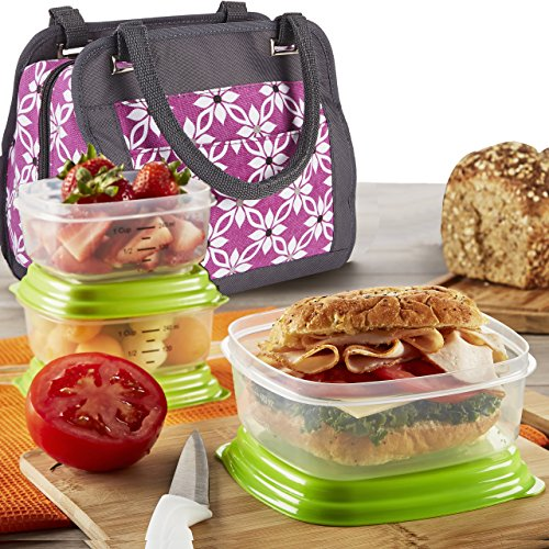- Fit & Fresh Ashland Lunch Bag Kit with Reusable Container Set and Ice Pack, Orchid Dogwood - 961FF476