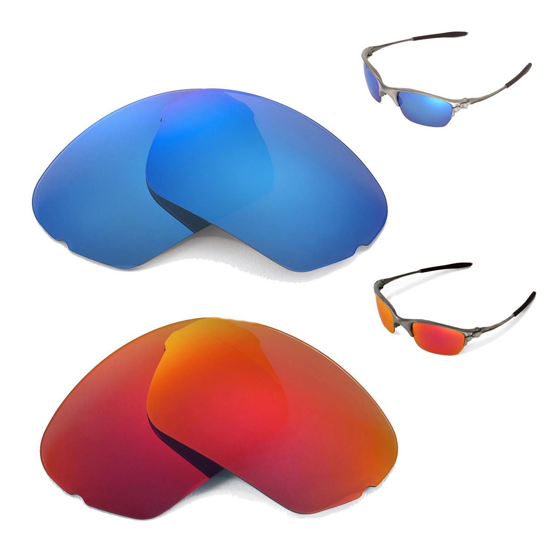 New Walleva Polarized Ice Blue + Fire Red Lenses For Oakley Half X