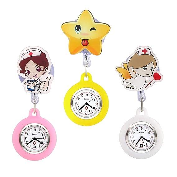 JSDDE - Reloj de Enfermera de Silicona, 3 Piezas, diseño de Broche médico, fácil de Tirar: Amazon.es: Relojes