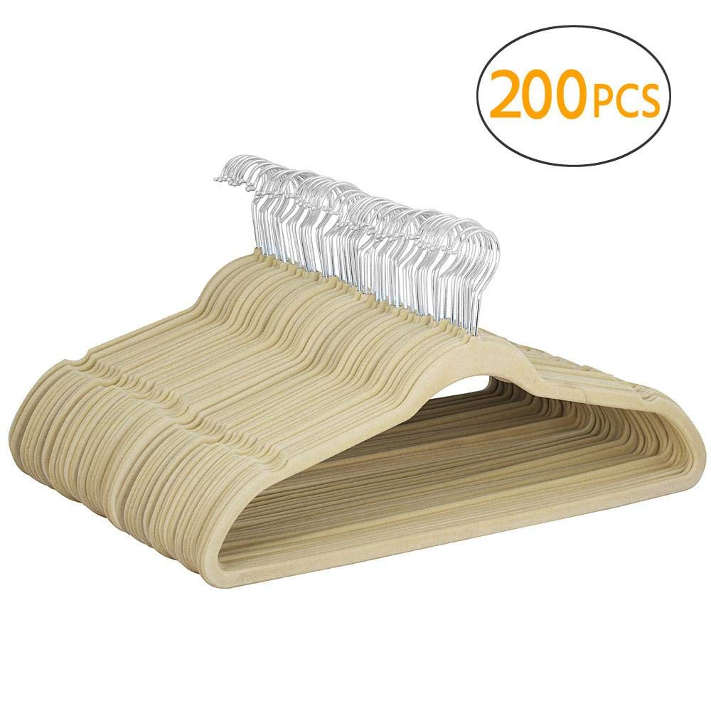 Yaheetech 200 Pcs Velvet Clothes Hangers-Ultra Thin Clothes Racks Perfect for Space Saving, Beige