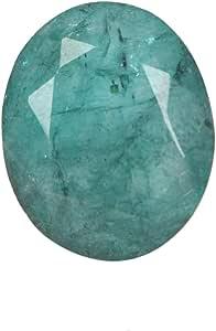 Real Gems Piedra Preciosa Suelta Esmeralda Natural, Forma Ovalada facetada 7.50 CT Piedra Preciosa Suelta Esmeralda Verde, Piedra de Nacimiento Esmeralda de Mayo