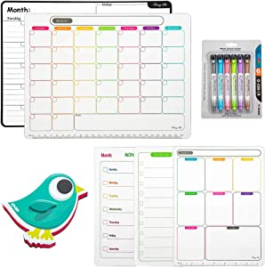 """AFAN Magnetic Refrigerator Calendar whiteboard- 5 Piece 11""""8.3"""" Combination Dry Erase Board Bulletin Board, Monthly Weekly Planning Table, Home Teaching and Office Important Notes Message Board"""