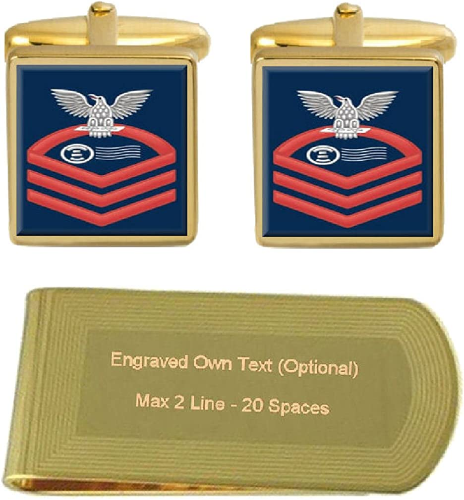 Select Gifts Cufflinks Engraved Money Clip U.S Navy Chief Red E-7 Postal Clerk PC