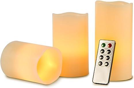10cm, 12.8cm, 15.2cm LED Kerzen Die echt blinkende LED-Flamme ist aus elfenbeinfarbenem Echtwachs gefertigt Flammenlose Kerze 300 Stunden Batterie Dekorative Kerzen Set 3 10-Tasten-Fern BYN