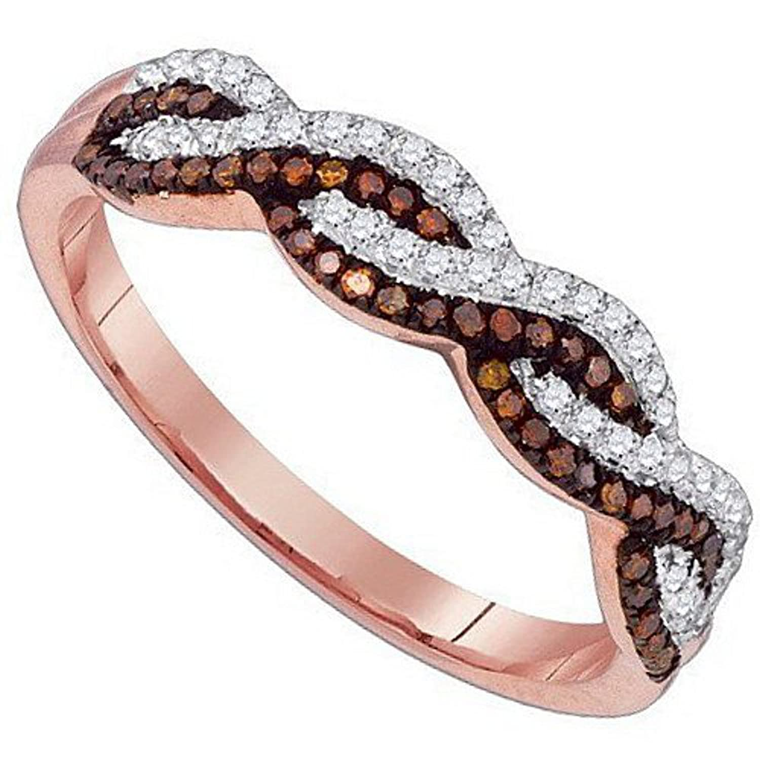 infinity band. amazon.com: infinity band ring cognac white brown diamond rose gold promise anniversary 1/5cttw(i2/i3, i/j): midwest jewellery: jewelry
