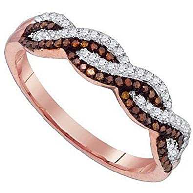 Amazon Infinity Band Ring Cognac White Brown Diamond Rose