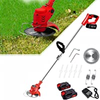 Electric Cordless Lawn String Trimmers, Weed Edger Tool with Telescopic Rod & Adjustable Head, 2X Battery & 3 Kinds…