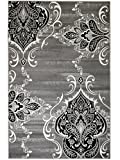 """SUMMIT BY WHITE MOUNTAIN Summit UG-AV8G-LEC3 New Elite 52 Royal Damask Boroque Vintage Look Area Rug Grey White Black Many Available, 8 x 11 Actual Size is 7′.4""""x10′.6"""""""