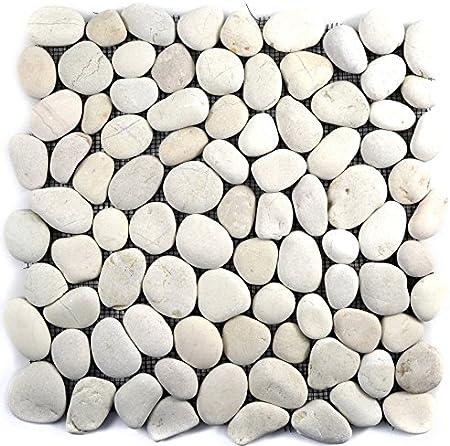 Carrelage Mosaique Dalle De Galets Plats Blancs Pour Mur Salle De Bain Wc Douche Cuisine Credence Revetement De Comptoir Revetement De Baignoire Amazon Fr Bricolage
