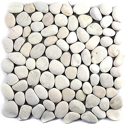 Tessere Di Mosaico Fiume Ciottoli Ciottoli Ciottoli Piatto Bianco Per Parete Bagno Doccia Cucina Piastrelle Specchio Theken Travestimento Badewannen