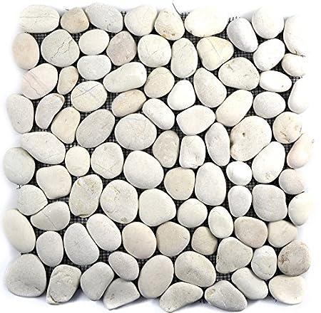 Carrelage mosaïque, dalle de galets plats, blancs, pour mur ...