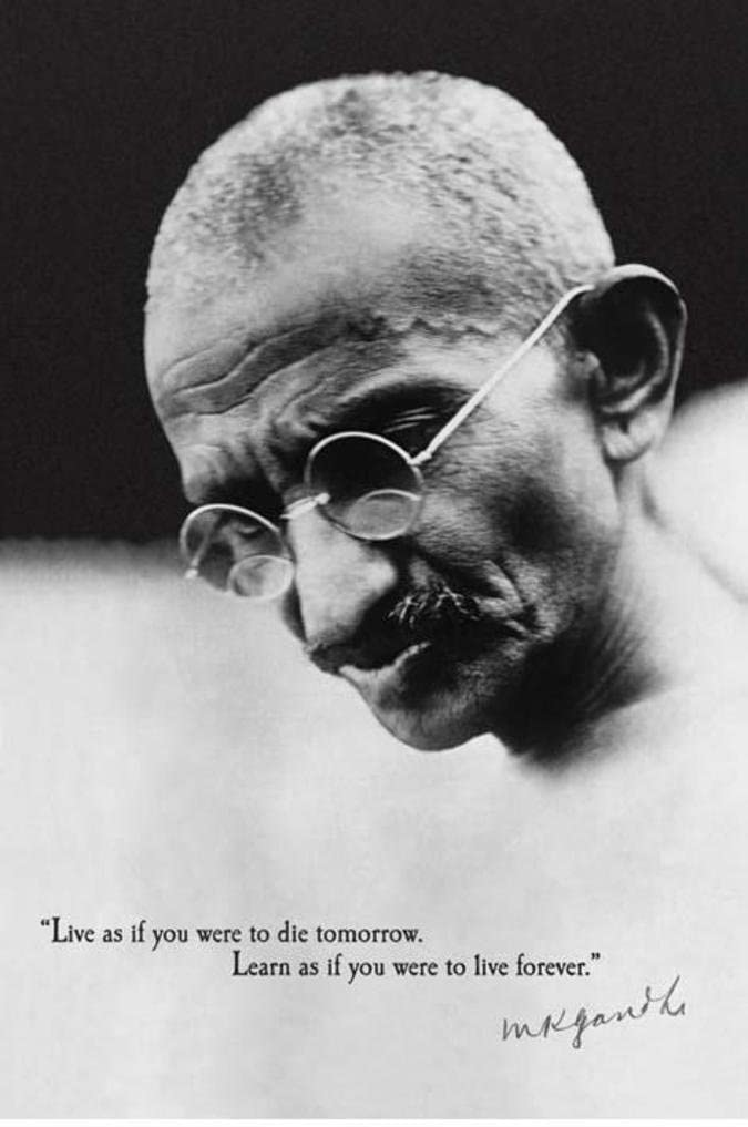 Gandhi Live Forever Quote Motivational Cool Wall Decor Art Print Poster 24x36