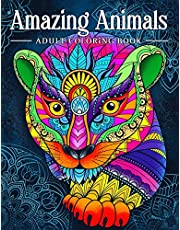 Amazing Animals: Adult Coloring Book, Stress Relieving Mandala Animal Designs
