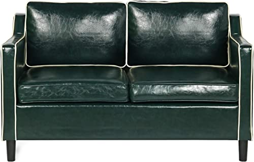 YDF Faux Leather Modern Loveseat Sofa Suitable for Small Space Configuration, Luxurious Double Seat Sofa, Geometric Armrest, Living Room Bedroom Office Couch 50.4 , Dark Green