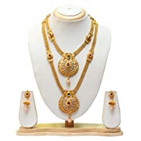 Swaraj Creation Green Maroon Colour Gold Plated Haram Necklace With Earrings Jewellery Set For Women