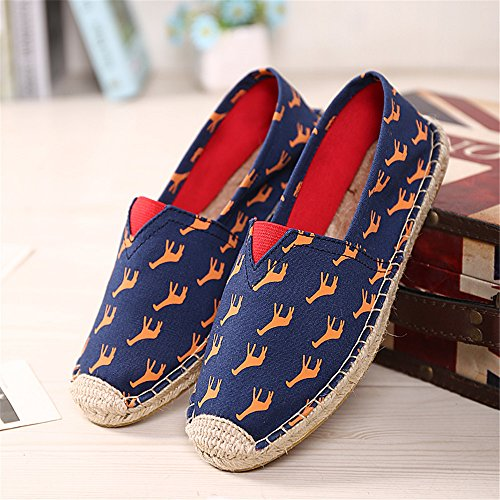 Slip Men's Espadrilles Canvas Women And Straw Giraffe Linen Hemp SHELAIDON Flats Loafers Shoes on nwTSqzI4