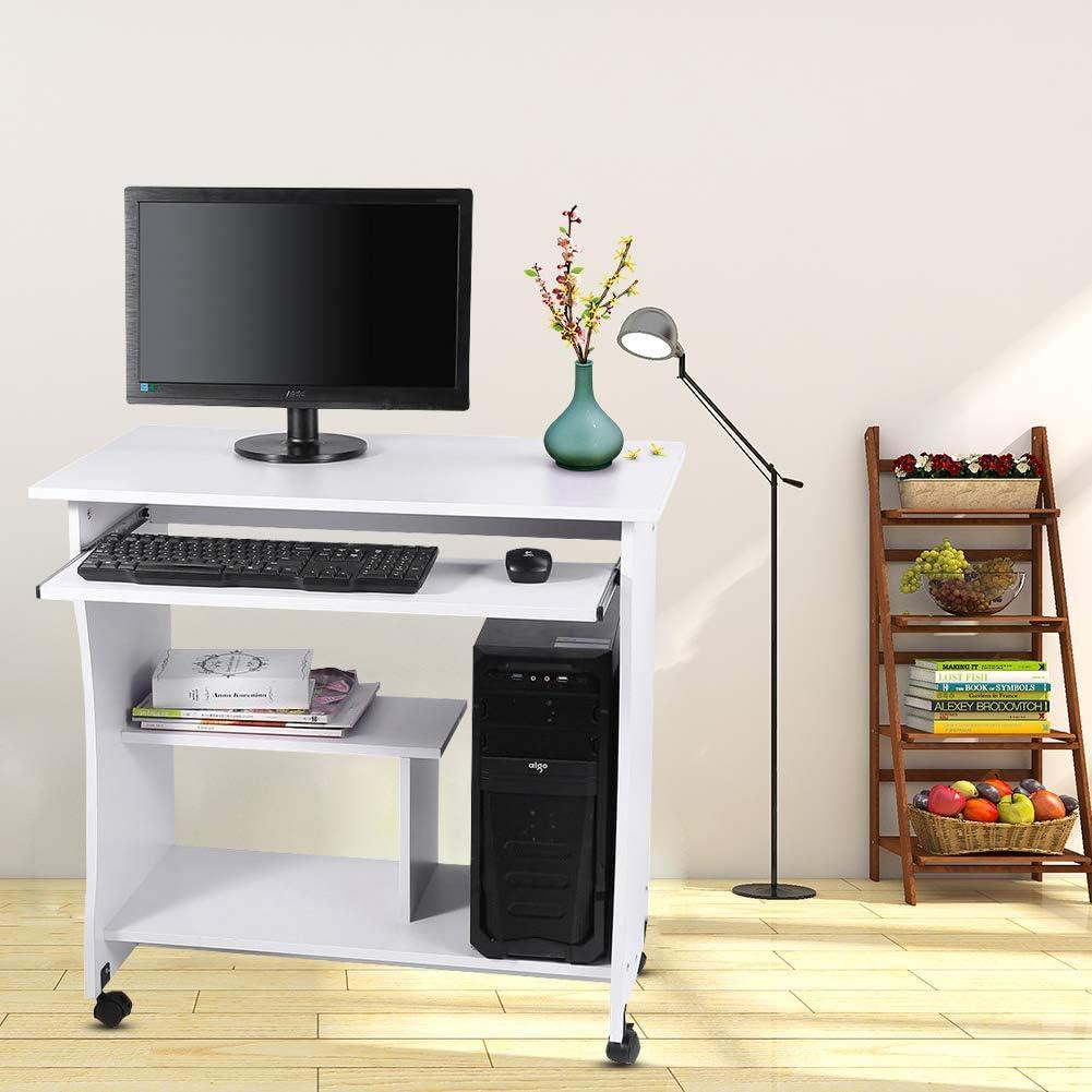 Portatile Moderna Scrivania da Tavolo con Tastiera con Ripiani Scorrevoli per la Stanza Dellufficio Ejoyous Scrivania per Computer in Legno Bianco 80 x 48 x 74 cm