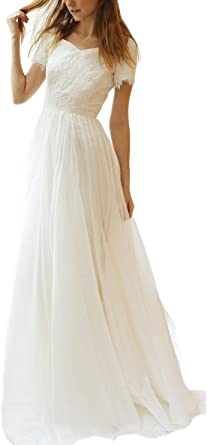 Veilace Women S Lace Chiffon Wedding Dress Short Sleeves A Line Beach Boho Bridal Gowns At Amazon Women S Clothing Store,Vintage Pin Up Wedding Dresses