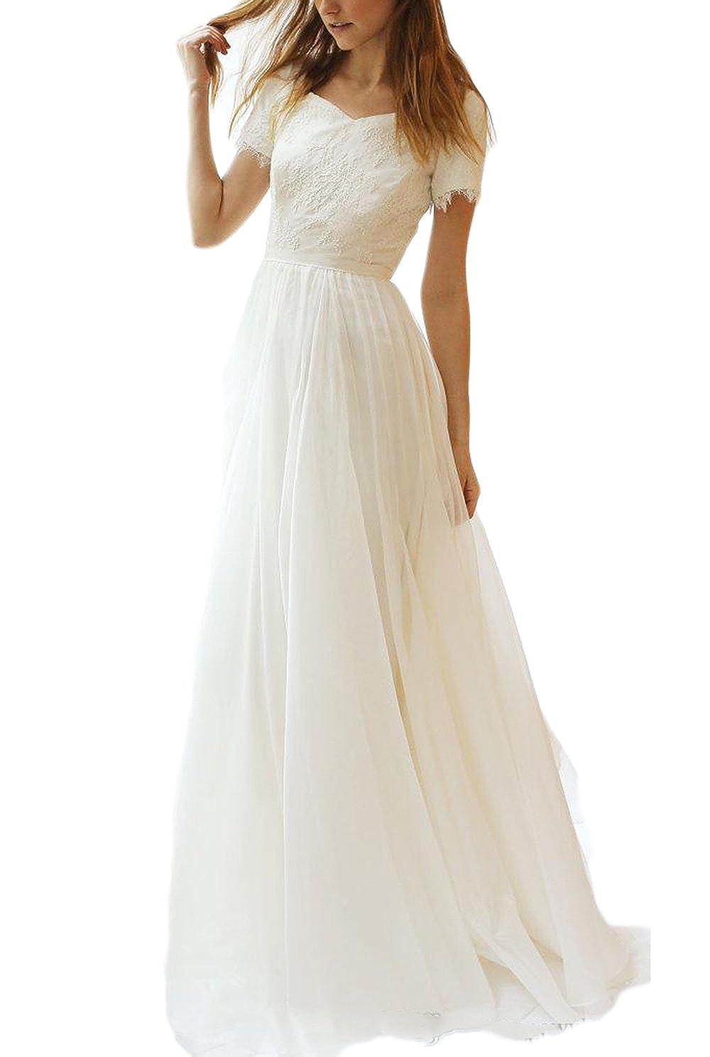 Veilace Womens Lace Chiffon Wedding Dress Short Sleeves A Line