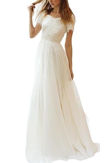 Veilace Women S Lace Chiffon Wedding Dress Short Sleeves A Line Beach Boho Bridal Gowns