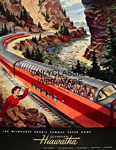 OnlyClassics Milwaukee Super Dome Olympian Hiawatha Railroad Train STREAMLINER 12X16 Poster